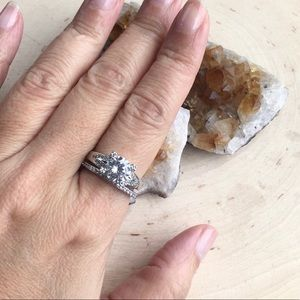 🆕 Engagement Wedding Ring Set Size 8